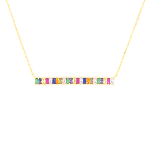 Rainbow Sterling Bar Baguette Necklace 2.0