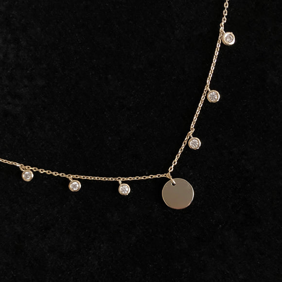 Diamond and Disc Necklace