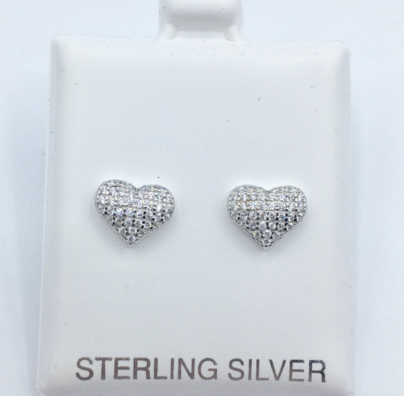 Pave Heart Studs - Silver