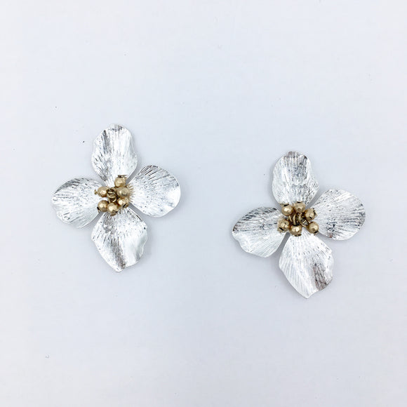 Flower Chic- Metallic Stud II Silver