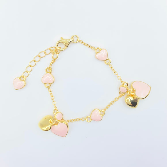 Infant/Baby Bracelet - Gold over Sterling / Pink