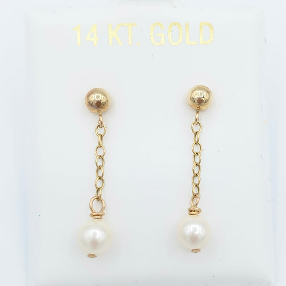 14kt Pearl Drop Earrings