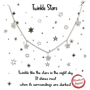 Twinkly Stars Necklace - Silver