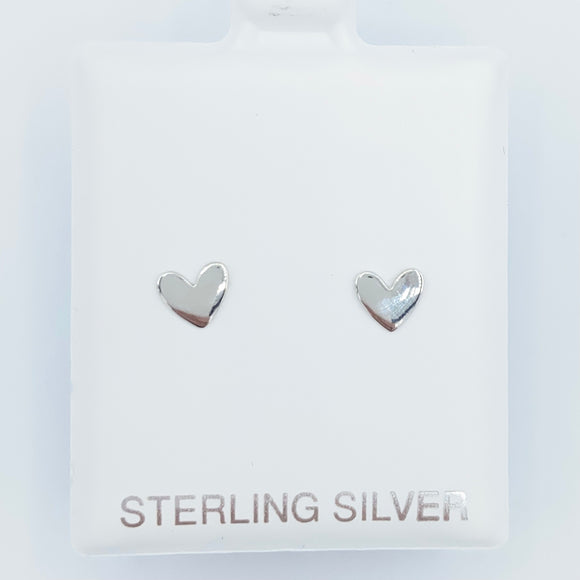 925 Shiny Heart Studs