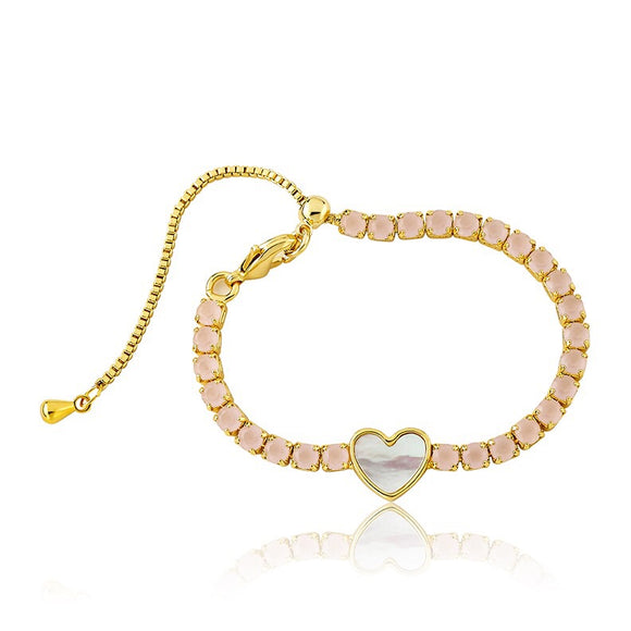 Blush Tennis Bracelet with Heart