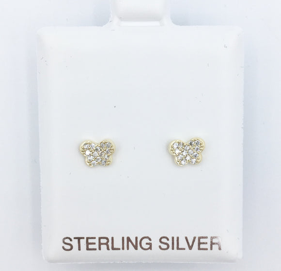 925 Butterfly Pave Studs - Gold