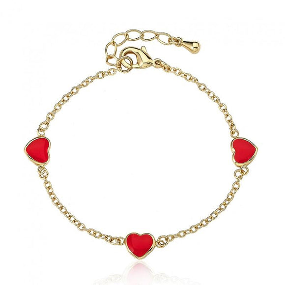 Enamel red heart bracelet