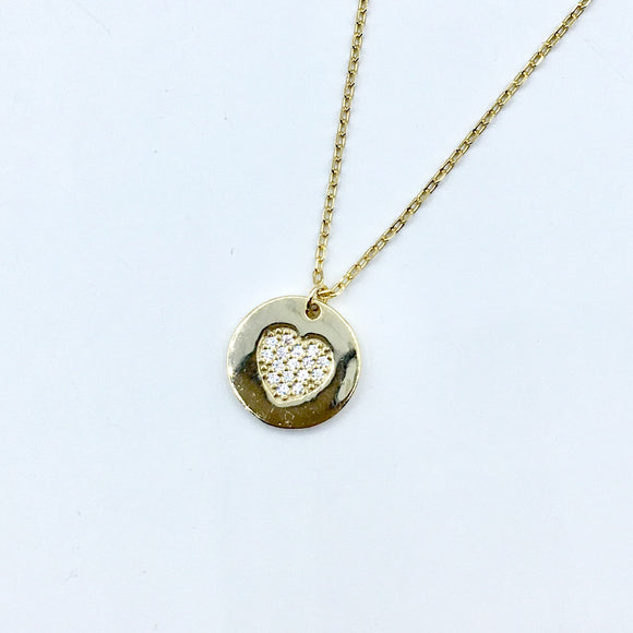 Petit Heart Disc Necklace
