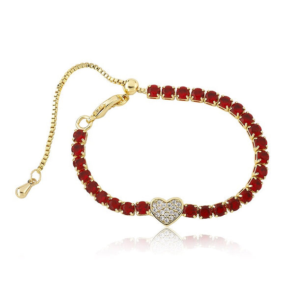 Ruby Tennis Bracelet with Heart