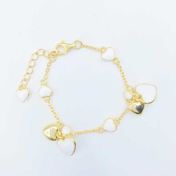 Double Heart Bracelet - Gold over Sterling / White