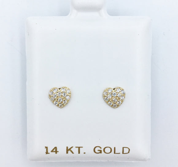 Gold Pave Heart Screwbacks