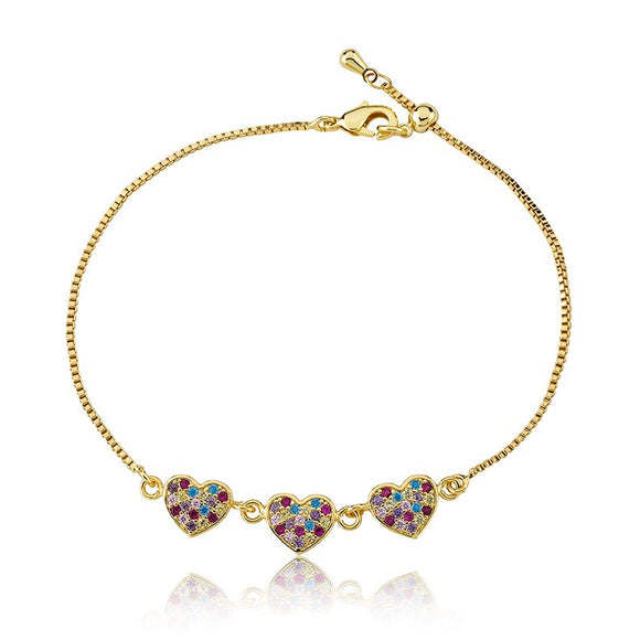Diamond Heart Adjustable Bracelet - Rainbow