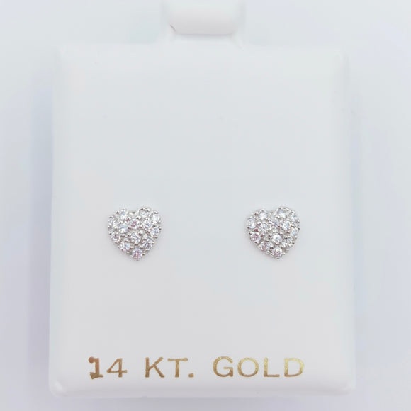Gold Pave Heart Screwbacks - White