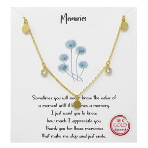 "Statement Disc CZ Necklace - ""Memories"""