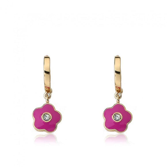 Enamel Hanging Flower Hoops