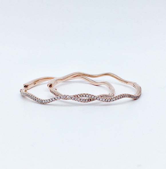 Studded Wavy Hoops - Large/ Rose Gold
