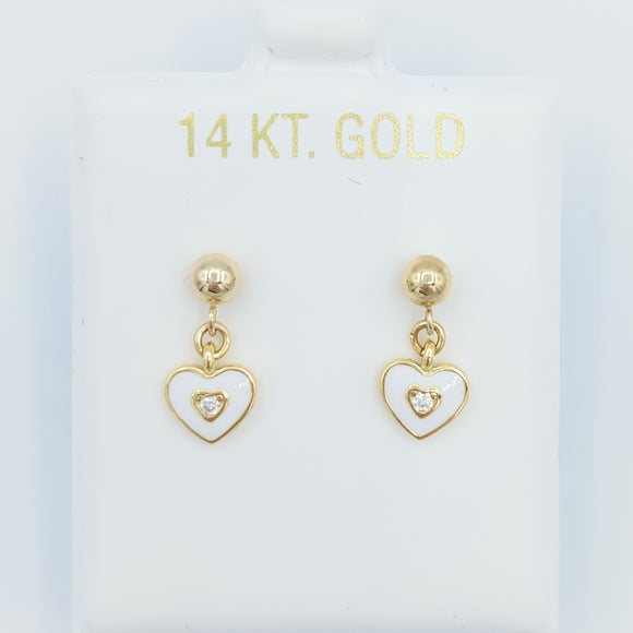 14kt Gold Heart Drops - White