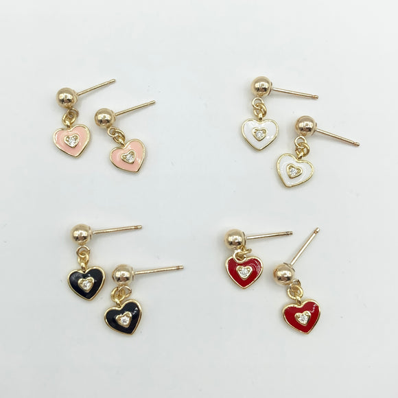 14kt Gold Heart Drops - Black