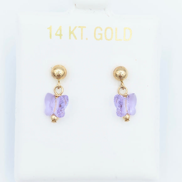 14kt Gold Butterfly Drop Earrings