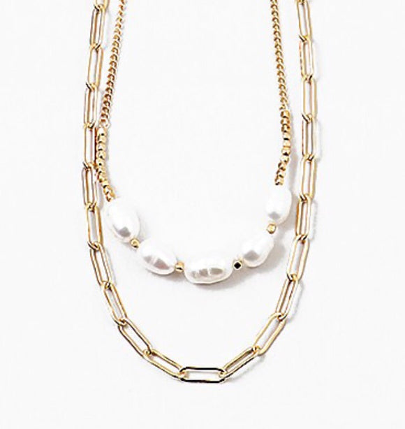 Double Chain Necklace - Pearls