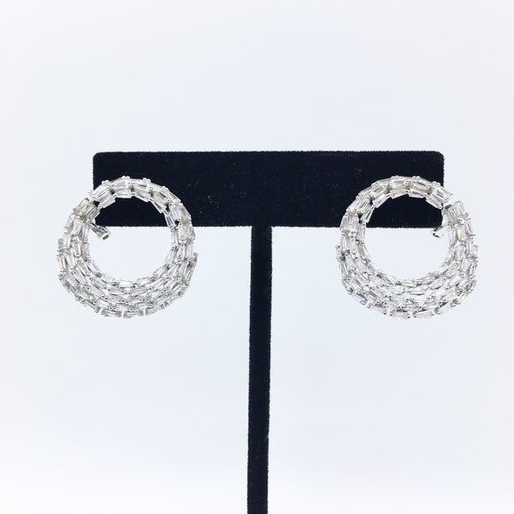 Sterling Circle Baguette Earrings
