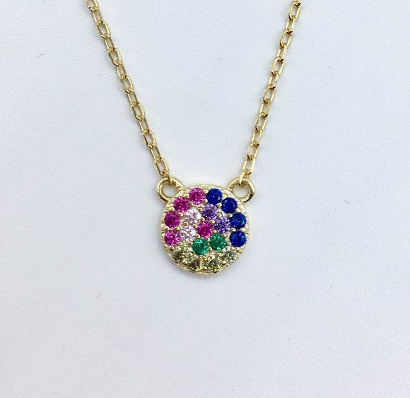 Rainbow Sterling Circle Necklace