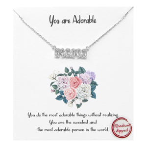 "Statement Bar Necklace - ""You are Adorable"""