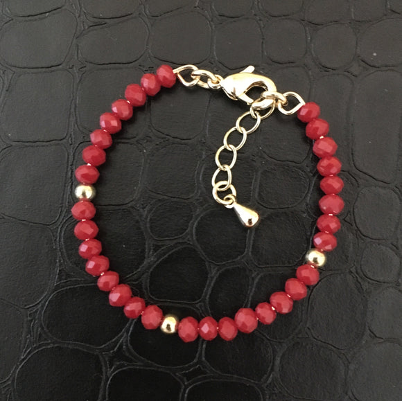 Newborn Beaded Bracelet - Red