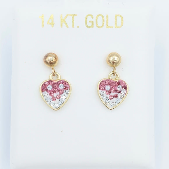 14kt Ombré Heart Drop Earrings