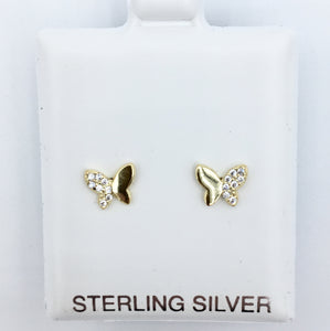 925 Semi-studded Butterfly Studs - Gold