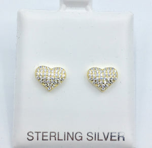 Pave Heart Studs - Gold