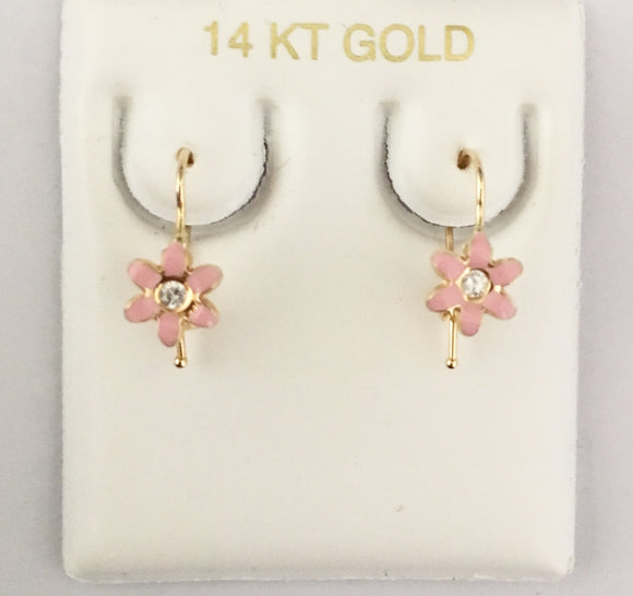 Pink Enamel Flower French-wires