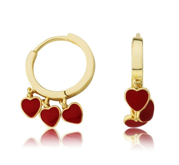 Enamel Triple Heart Hoops - Red
