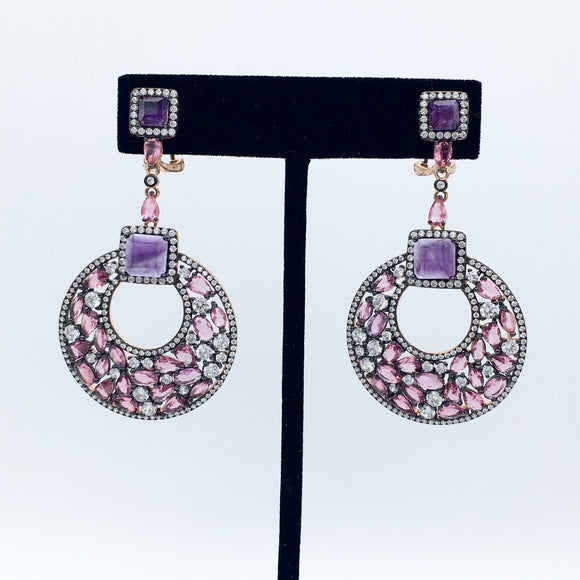 Semi-Precious Pink/Purple Earrings