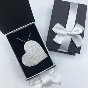 Sterling Pave Heart 4.0