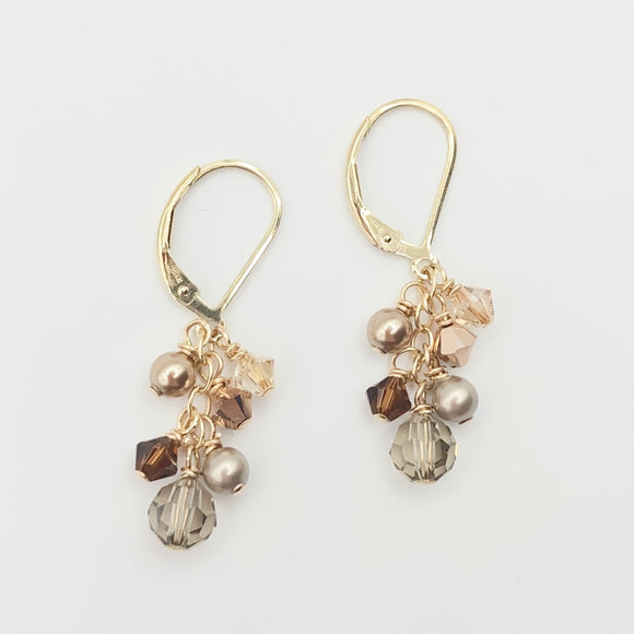 Gold Filled Swarovski Cluster Leverbacks - At the Shore
