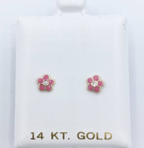 pink Enamel Flower Screwbacks