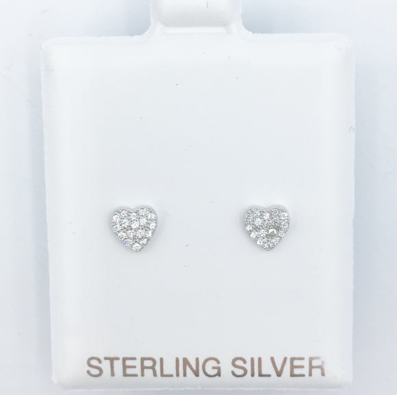 925 Heart Pave Earrings