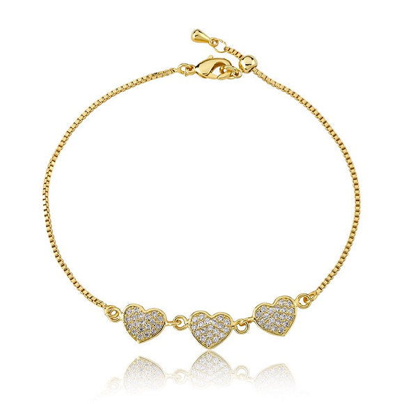 Diamond Heart Adjustable Bracelet - Clear