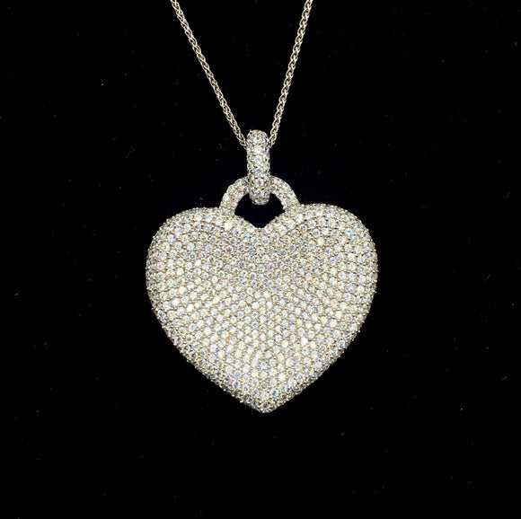 Sterling Pave Contour Heart Necklace