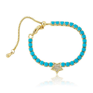 Turquoise Tennis Bracelet with Star