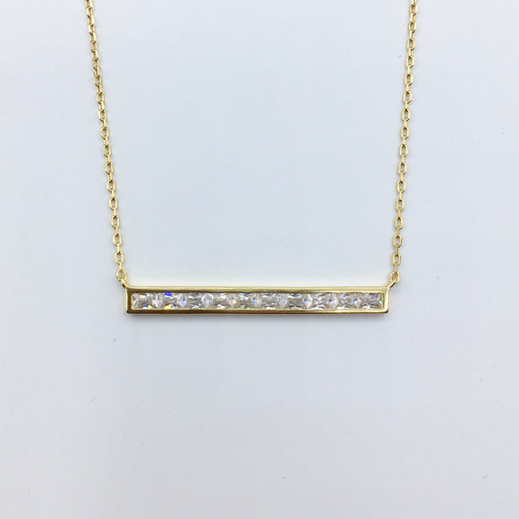 Diamond Bar Necklace - Gold