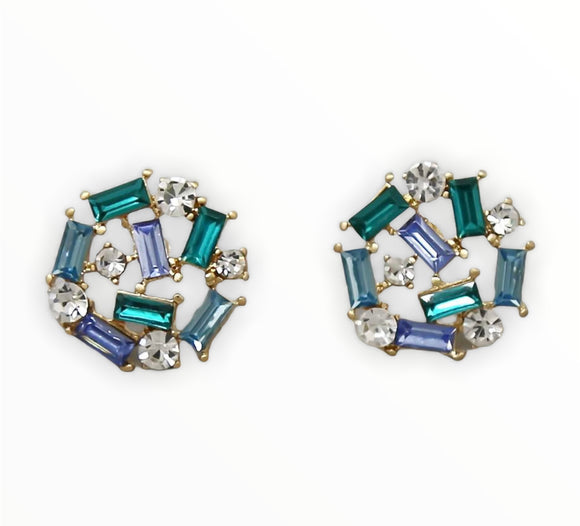 Goddess Glass Cluster Stud - Sea Blue