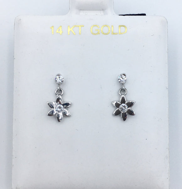 Flower Hanging Screwbacks - White Gold