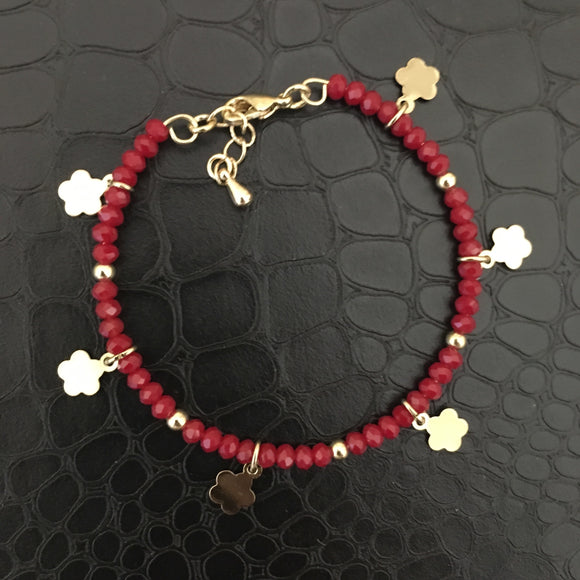 Beaded Bracelet - Red with Flowers