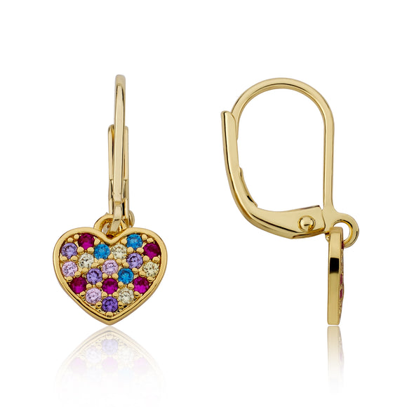 Heart CZ Earrings - Rainbow