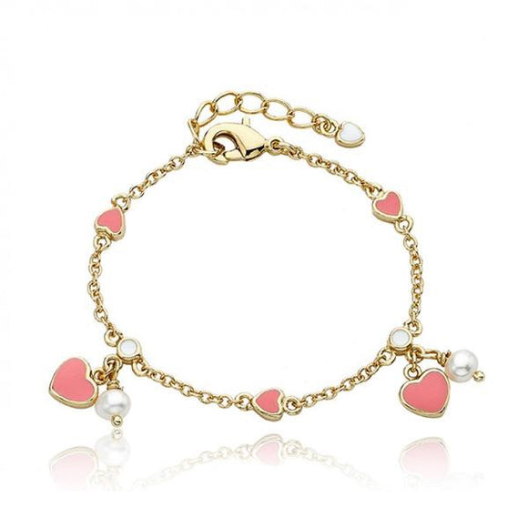 Enamel Heart and Pearl Bracelet - Pink