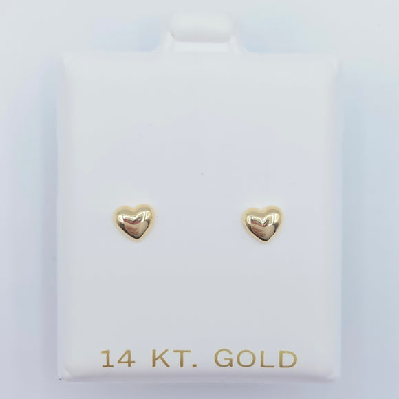 Gold Puffed Heart Screwbacks
