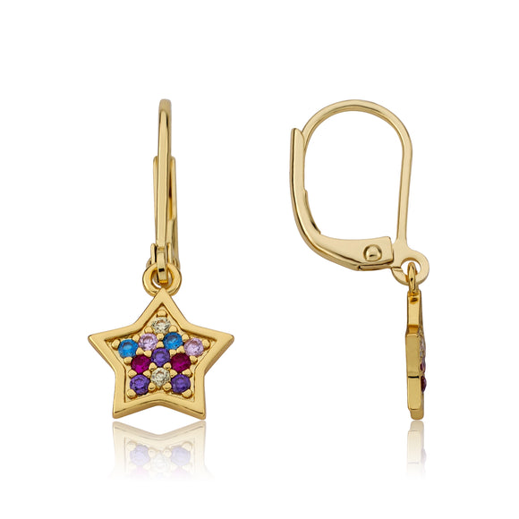 Star CZ Earrings - Rainbow