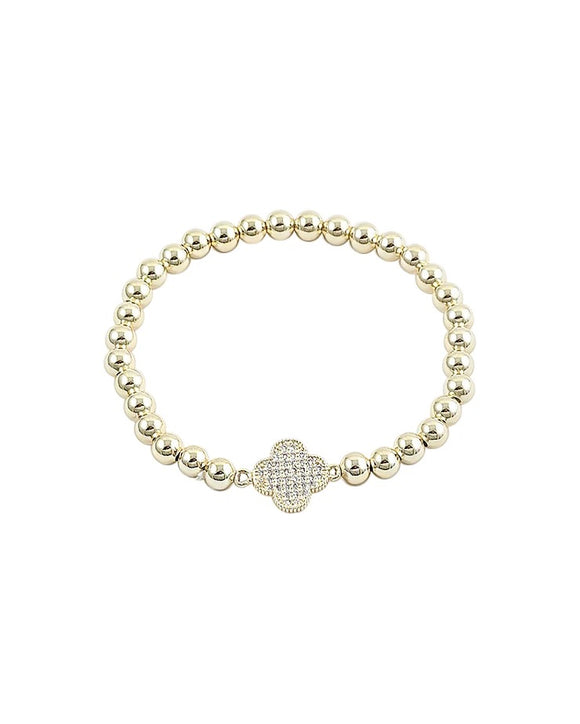 Gold Ball Bracelet - Clover